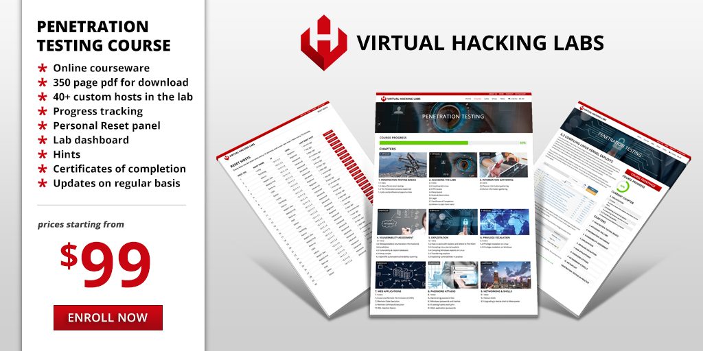 Enroll the Virtual Hacking Labs course now!